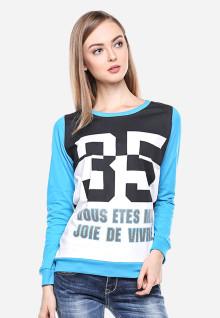 Regular Fit - Kaos Wanita - Putih/Biru - Lengan Panjang