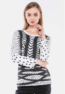 Regular Fit - Kaos Wanita - Putih - Motif Hitam