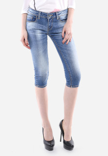 Celana Capri - Biru - Slim Fit - Jeans Premium - Washed