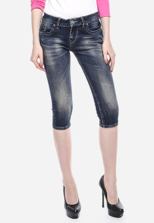 Celana Capri - Biru Navy - Slim Fit - Jeans Premium