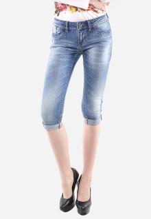Celana Capri - Biru Muda - Slim Fit - Jeans Premium