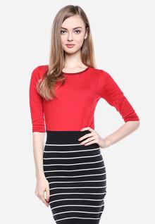Regular Fit - Dress - Red/Black - Motif Bergaris
