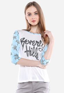 Slim Fit - Kaos Wanita - Putih - Gambar Sablon