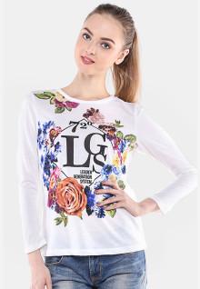 Regular Fit - Kaos Wanita - Putih - Gambar Bunga