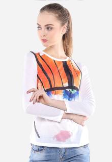 Regular Fit - Kaos Wanita - Putih - Gambar Sketsa Wajah
