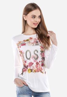 Regular Fit - Kaos Wanita - Putih - Gambar Bunga - Lengan Panjang
