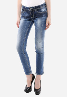 Jeans Premium - Biru Muda - Detail Whisker - Aksen Washed - Ripped