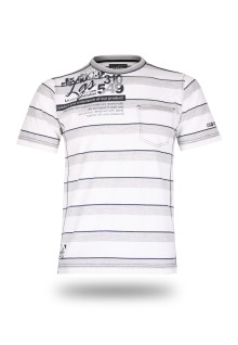 Regular Fit - Stripe Tee - White/Gray - comfortabel