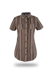 Regular Fit - Ladies Shirt - Brown - With Striped Color