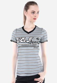 Regular Fit - Kaos Wanita - Putih - Salur - Zero 549