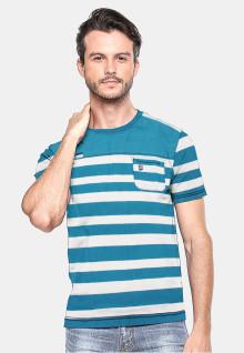 Slim Fit - Kaos Pria - Putih/Biru - Salur - Berkantong
