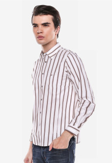 Regular Fit - Kemeja Formal - Putih/Coklat - Garis Salur