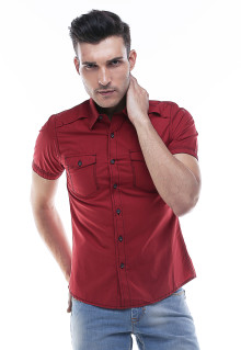 Slim Fit - Kemeja Fashion  - Model Casual - Merah