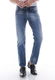 Slim Fit - Jeans Panjang - Aksen Washed - Whiskers - Biru