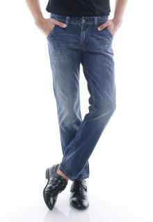 Slim Fit - Jeans Panjang - Whisker Halus -  Biru