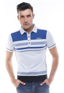 Slim Fit - Kaos Polo - Motif Garis - Biru