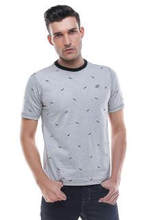 Slim Fit - Kaos Pria - Motif Burung - Abu