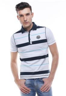 Slim Fit - Kaos Polo - Bergaris - Putih