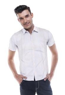 Slim Fit - Kemeja Formal - Putih Kebiruan - Garis Tambang