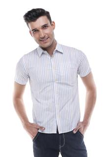 Slim Fit - Kemeja Formal - Putih - Garis Salur