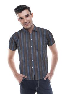 Slim Fit - Kemeja Formal - Hitam - Garis Biru