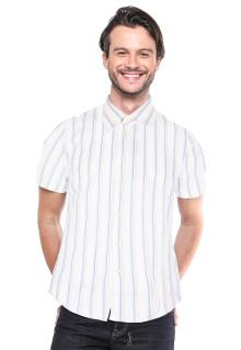Slim Fit - Kemeja Formal - Putih - Motif Bergaris