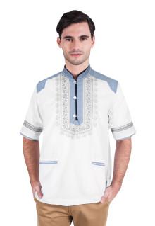 Baju koko - Lengan Pendek - Motif Klasik - Putih - Slim Fit