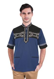 Baju koko - Lengan Pendek - Motif Bordir - Biru - Slim Fit