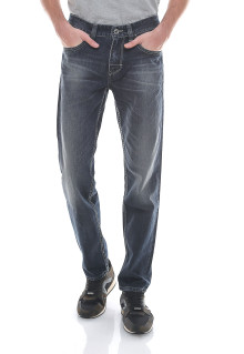 Slim Fit - Celana Jeans - Aksen Washed - Biru