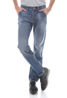Slim Fit - Celana Jeans - Aksen Washed - Whisker -  Biru