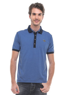 Slim Fit - Kaos Polo - Logo LGS - Bordir Luar - Biru