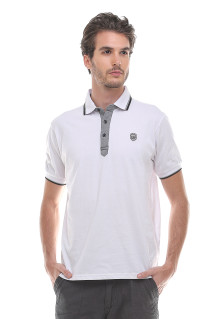 Slim Fit - Kaos Polo - Logo LGS - Putih