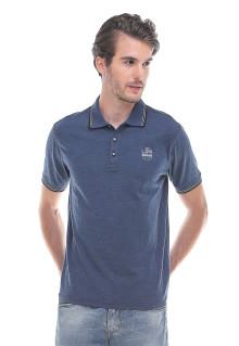 Slim Fit - Kaos Polo - Motif simpel - Logo LGS - Biru