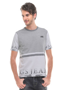 Slim Fit - Kaos Fashion - Round Neck - Salur Atas - Putih