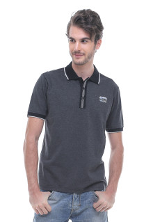 Slim Fit - Kaos Polo - Garis Tepi Putih - Abu