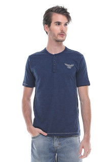 Slim Fit - Kaos Fashion - Henley - Biru