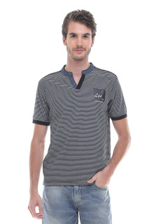 Slim Fit - Kaos Fashion - Henley - Salur - Hitam