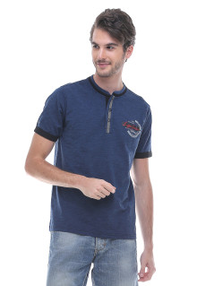Slim Fit - Kaos Fashion - Henley - Bertekstur - Biru