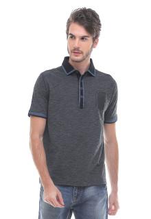 Slim Fit - Kaos Polo - Bahan Bertekstur - Abu