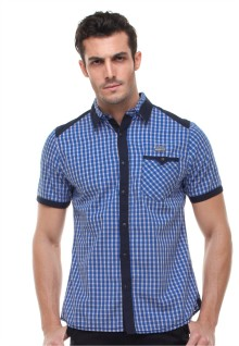 Slim Fit - Kemeja Fashion - Motif Kotak - Biru