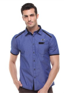 Slim Fit - Kemeja Fashion - Logo LGS - Biru