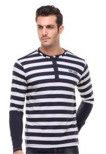 Slim Fit - Henley Shirt - Lengan Panjang - Garis Garis - Putih