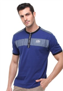 Slim Fit - Henley Shirt - Warna Ganda - Biru