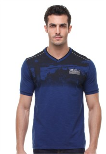 Slim Fit - Kaos Fashion - Vneck - Bergambar - Biru