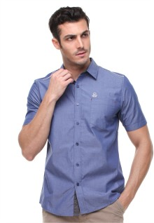 Slim Fit - Kemeja Casual - Logo Johnwin - Biru