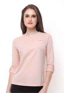 Regular Fit - Kaos Wanita - Berkancing - Lengan Panjang - Cream
