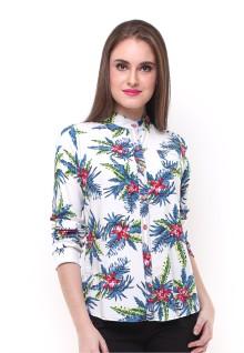 Regular Fit - Kemeja Wanita - Motif Bunga - Putih