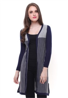 Sweater Wanita - Model Terusan - Motif Garis - Biru