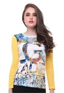 Regular Fit - Kaos Wanita - Lengan Panjang - Bergambar - Putih