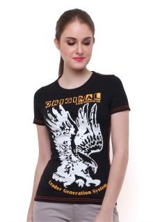 Regular Fit - Kaos Wanita - Lengan Pendek - Gambar Burung - Hitam